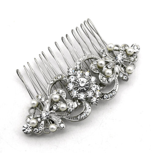 Luxury Women Silver with Ivory Pearls and clear rhinestones hair comb decoration