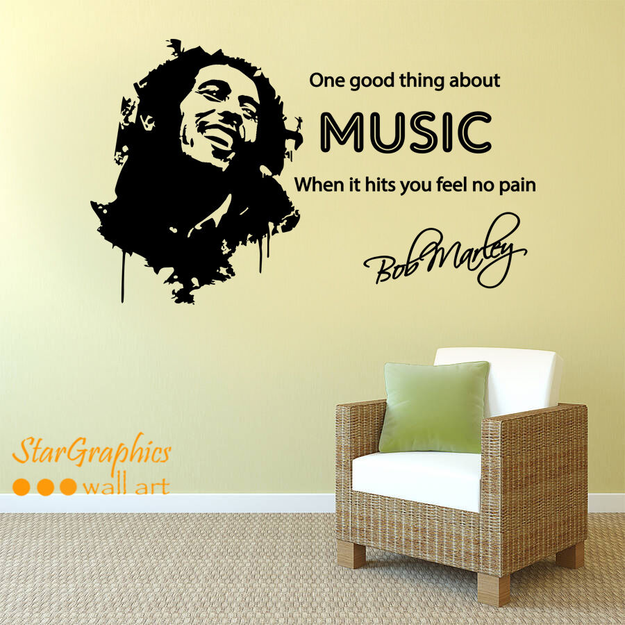 BOB MARLEY MUSIC SONG LYRICS Quote Wall Art Vinyl Decal Sticker ...