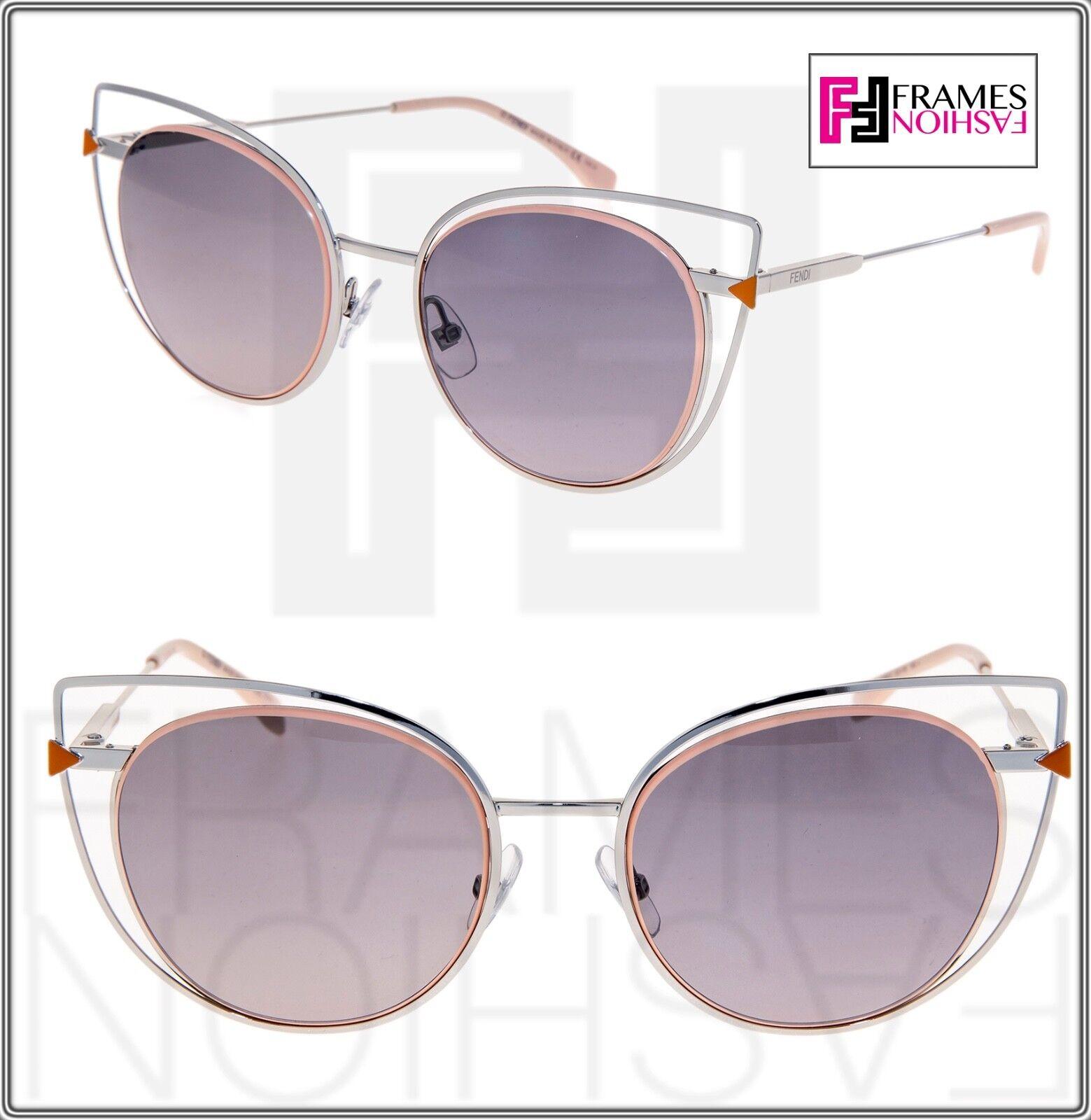 FENDI FF0176S Palladium Pink Cat Eye Sunglasses Metal Triangle 0176 Women