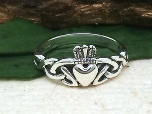 Claddagh-keltischer-Knoten-925-Silber-Ring-Hochzeitsring-Irland-Kelten
