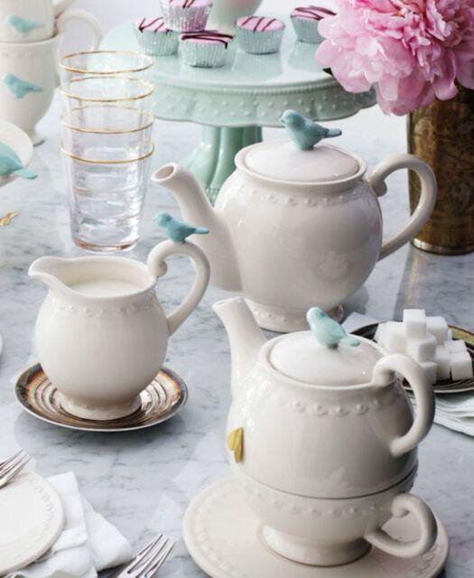 Bombay Duck 'Flight of Fancy' Tea for One Teapot & Cup. Cream w. Mint Green Bird