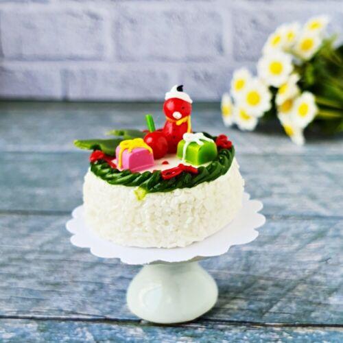 Dollhouse Miniatures Christmas Cake Ceramic Stand Set Bakery Snowman X/'mas Decor