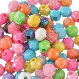 500-Mix-Acryl-Rund-Rose-Blumen-Spacer-Beads-Kugeln-Mehrfarbig-Basteln-10mm-L-P