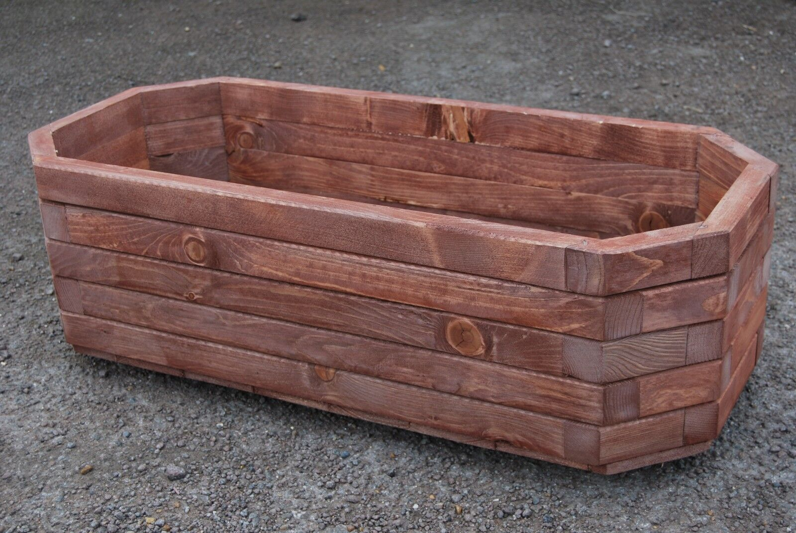 Large Wooden Pot 91 cm Long of Solid Wood Spruce in Rusty Farbe
