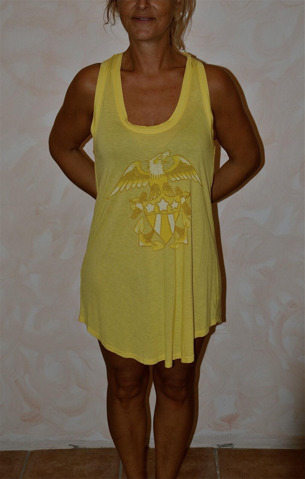 Hübsches Kleid Gelb Christian Audigier Eagle Shield GRÖSSE XS Neu Etikett