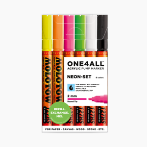 Molotow ONE4ALL 127HS Neon-Set (2mm) Acrylic pump Graffiti Art Paint markers