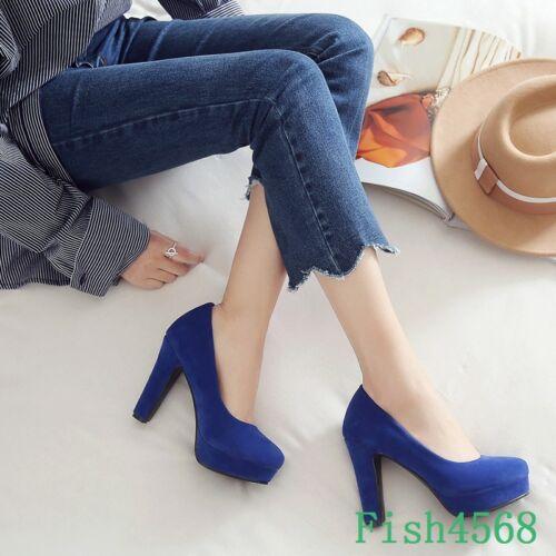 Womens Faux Suede High Block Heels Platform Slip On Pumps Shoes 3 Colors Plus Si