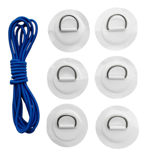 Set 6 Inflatable Boat Fishing Raft Dinghy Kayak D-Ring Patch with Shock Cord Set