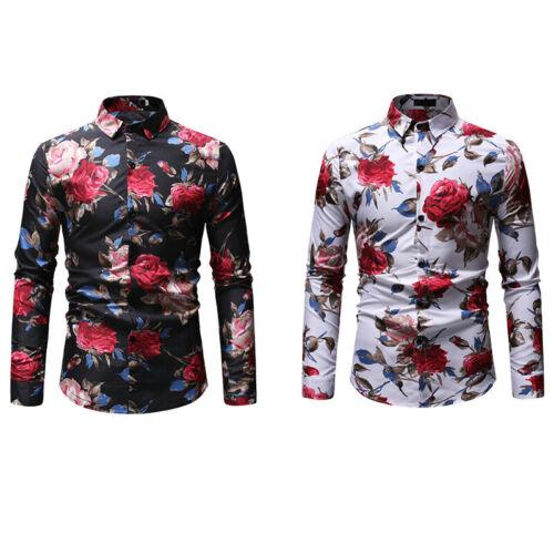 Fit men/'s T-shirt formal sleeve tops stylish slim shirt casual long floral dress