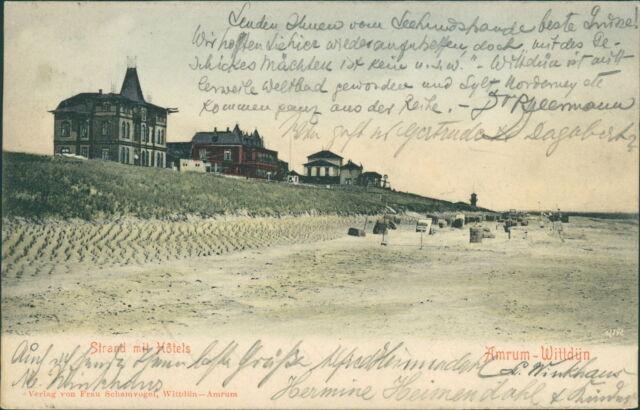 Ansichtskarte Amrum Wittdün Strand mit Hotel 1904  (Nr.864)