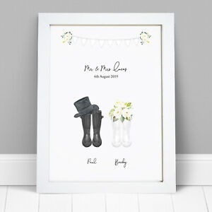 Personalised-Wellies-Welly-Boots-Mr-amp-Mrs-Wedding-Print-Bride-Groom-Frame-Gift