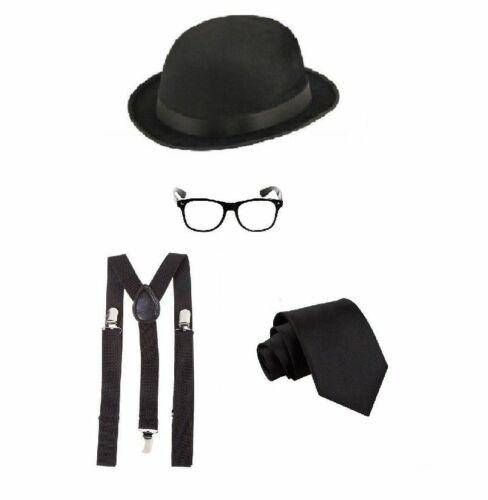 NUOVO signore cravatta nera Nero Bretelle Bombetta /& Occhiali Set Costume Anni 1920