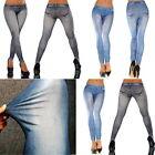 Women lady Slim Leggings Jeans Jeggings Stretch Skinny Pants Denim Trousers L