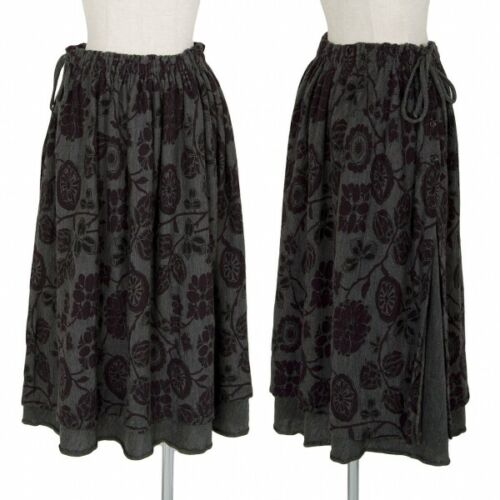 Y�fs Floral Print Layered Design Wool Skirt Size 2