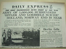 DAILY EXPRESS WWII NEWSPAPER MAY 3rd 1945 HITLER AND GOEBBELS COMMIT SUICIDE
