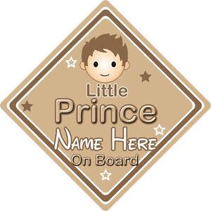 Non personnalisé enfant//bébé à bord voiture signe ~ little princess on board ~ brown