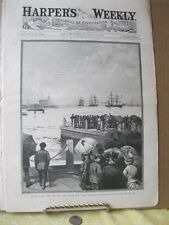 Vintage Print,HONORS TO DEAD,Greely Expedition,Passing Gov Island,Harpers,1884