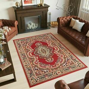 Traditional-Red-Rug-Oriental-Bedroom-Living-Room-Mat-Floral-Non-Shed-Area-Rugs
