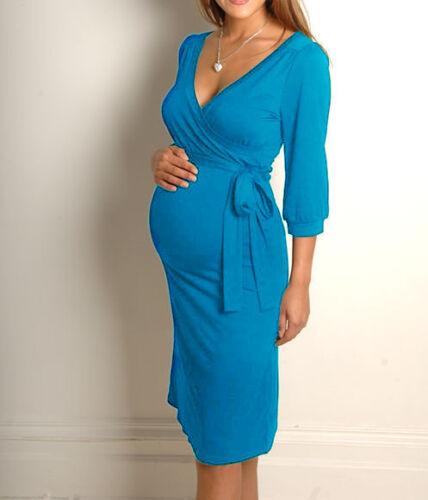 Women Maternity Dress V-Neck Pregnancy Clothes Nursing Dress Size 8 10 12 14 16
