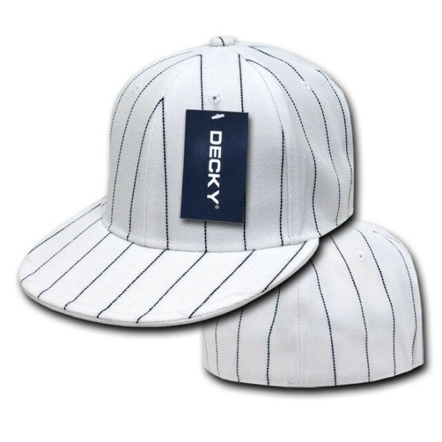 White Pin Stripe Pinstripe Flat Bill Fitted Baseball Cap Caps Hat Hats - 7 SIZES