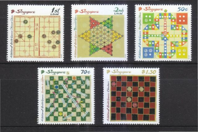 SINGAPORE 2016 TRADITIONAL BOARD GAMES COMP. SET OF 5 STAMPS IN MINT MNH UNUSED