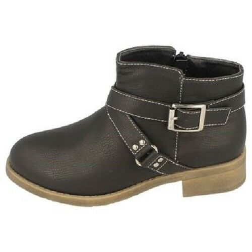 *SALE* Spot On H5034 Girls Black Synthetic Zip Fastened Casual Ankle Boots