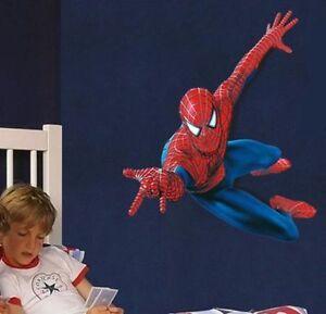 ... 110-90cm-SPIDERMAN-Wand-Sticker-Kinder-Jungen-Schlafzimmer-Wandtapete