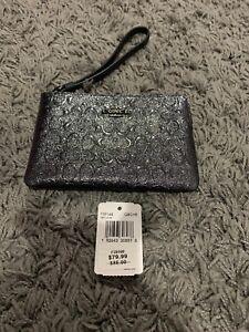 coach brand nwt corner zip wristlet color qb metallic charcoal rh ebay com