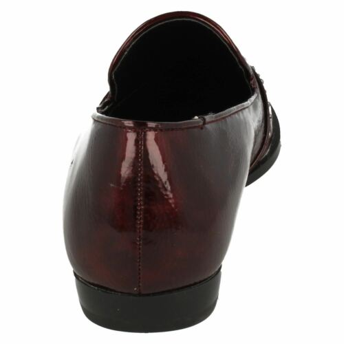 Spot On F80186 Ladies Burgundy Synthetic Patent Slip On Studded Loafers