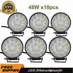 10X48W-Runden-LED-Arbeitscheinwerfer-Offroad-Strahler-Flutlicht-Scheinwerfer-LKW