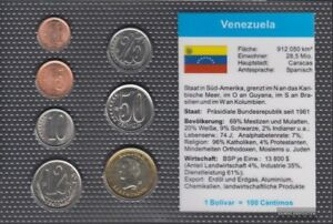 Venezuela-Stgl-unzirkuliert-Kursmuenzen-2007-1-Centimos-bis-1-Bolivar