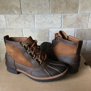 22966cc81be Details about UGG HEATHER CHESTNUT LEATHER WATERPROOF RAIN ANKLE BOOTS SIZE  5.5 WOMEN