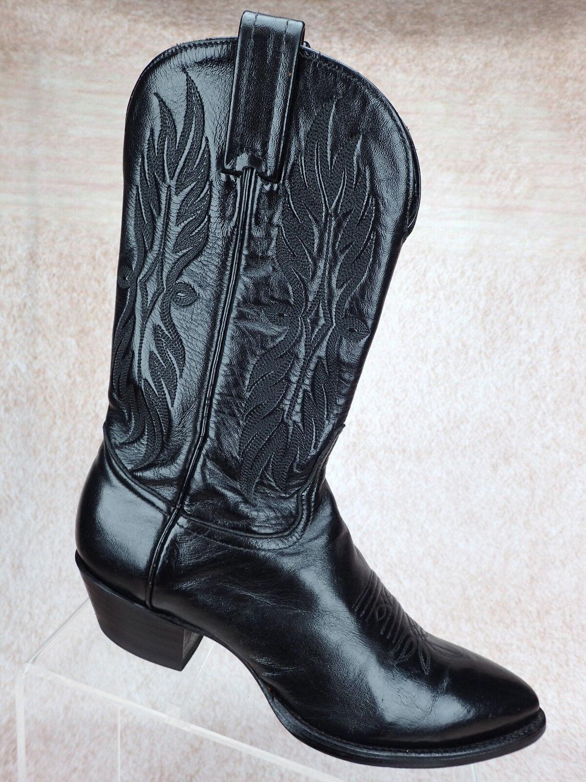 Tony Lama botas de vaquero occidental de Cuero Negro Puntera en punto para mujer M