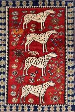 "Tigers Animal Pictorial 4x6 Gabbeh Shiraz Persian Oriental Area Rug 5' 9"" x 3' 9"