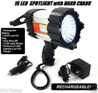 16 Led Rechargable Hand Crank Spotlight Emergency Light 28 Hours On1 Charge Sale