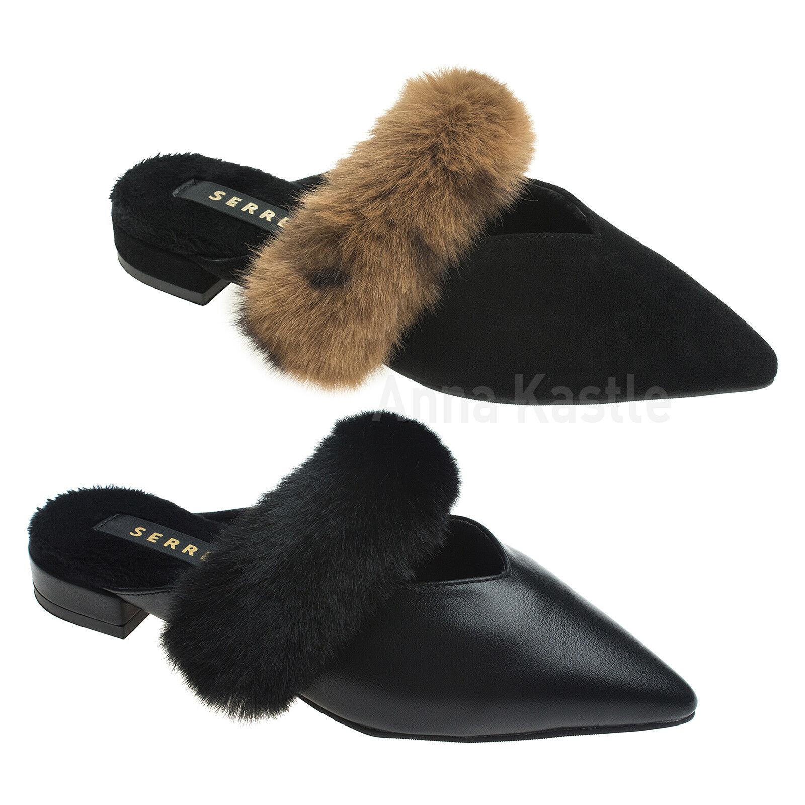 AnnaKastle femmes Fur Stap Pointed Toe Flat Mule Slide Slippers