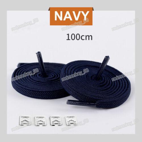 Elastic No Tie Shoe Laces Lazy Lock Shoelaces Adults Kids Trainers Shoes 100cm