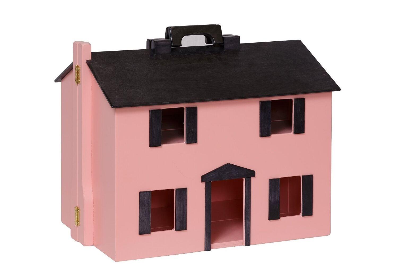 USA HANDMADE Folding Wood DOLLHOUSE wooden Doll Preschool Preschool Preschool Play Toy PINK 758624
