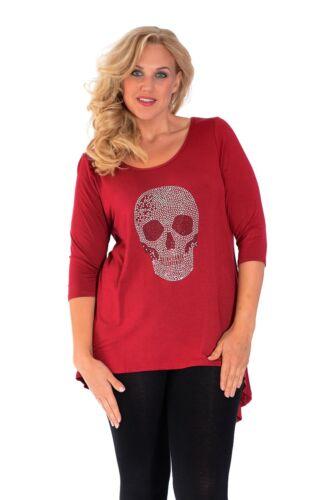 Womens New Studded Skull Dip Hem Top Tunic Skull Gem Nouvelle Plus Size