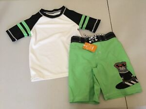 NWT Gymboree Boys Rash Guard Toucan Swim trunk Swimsuit Set UPF 50+