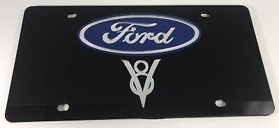 Ford Lightning Logo Black Mirror Outline Finish Lazer Tag Acrylic License Plate