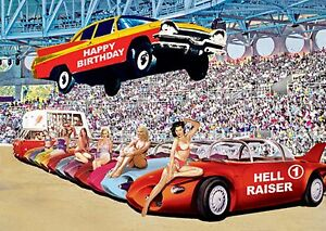 Image Is Loading HAPPY BIRTHDAY HELL RAISER CARD RETRO AMERICAN CARS