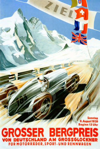 1939 Car Race Grand Prix Grosser Bergpreis Germany Vintage Poster Repro FREE S//H