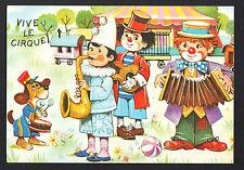 CLOWN ACCORDEONNISTE & CHIEN MUSICIEN , ROULOTTE & CHAPITEAU de CIRQUE illustré