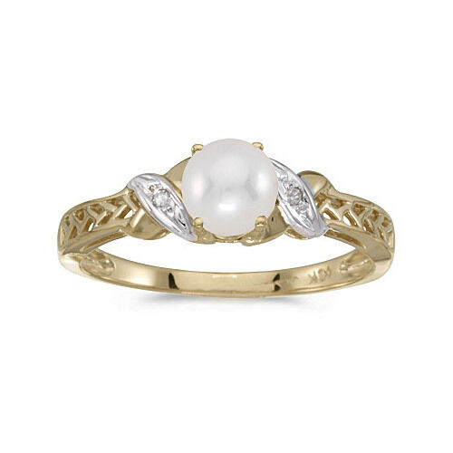 14k Yellow gold Cultured Freshwater Pearl & Diamond Ring (CM-RM2584X-06)