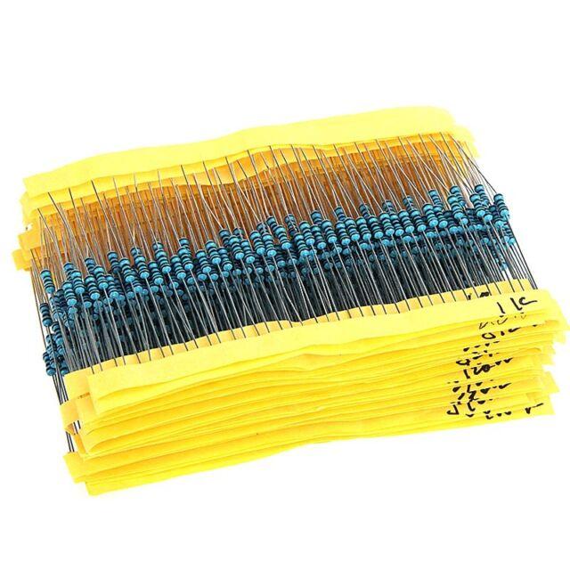 1280 Pcs 64 Values 1 ohm - 10M ohm 1/4W Metal Film Resistors Assortment Kit Set
