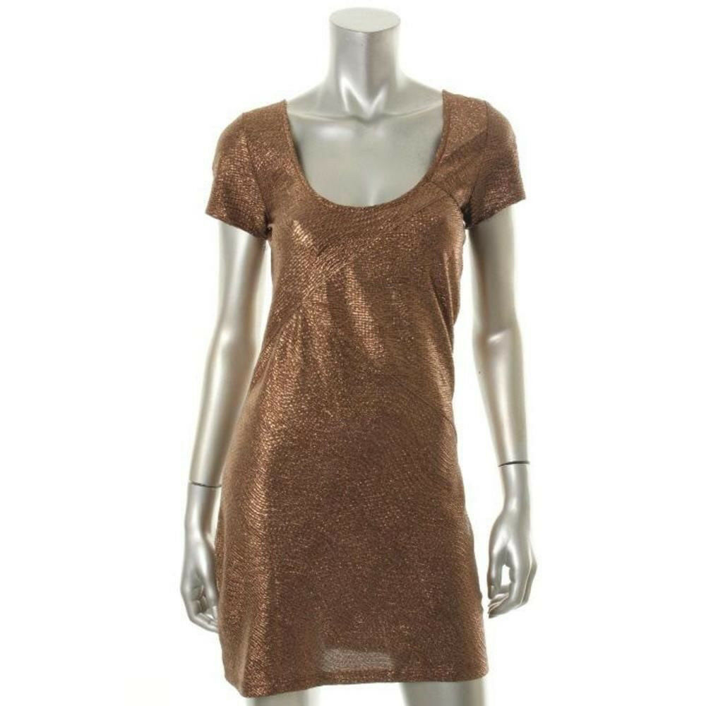 NWT Free People Medium Chocolate Moonage Daydream Metallic Sexy Prom Mini Dress