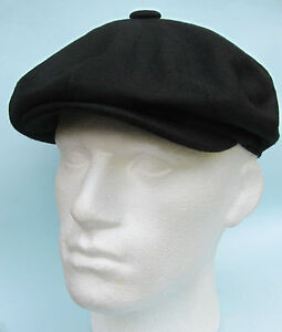 Flat-Cap-Black-Wool-8-Panel-News-Boy-Baker-Boy-Gatsby