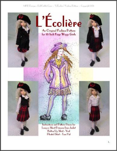 "/""L/'Écolière/""  18 inch Ball Jointed Doll BJD Kaye Wiggs Fashion Clothing Pattern"