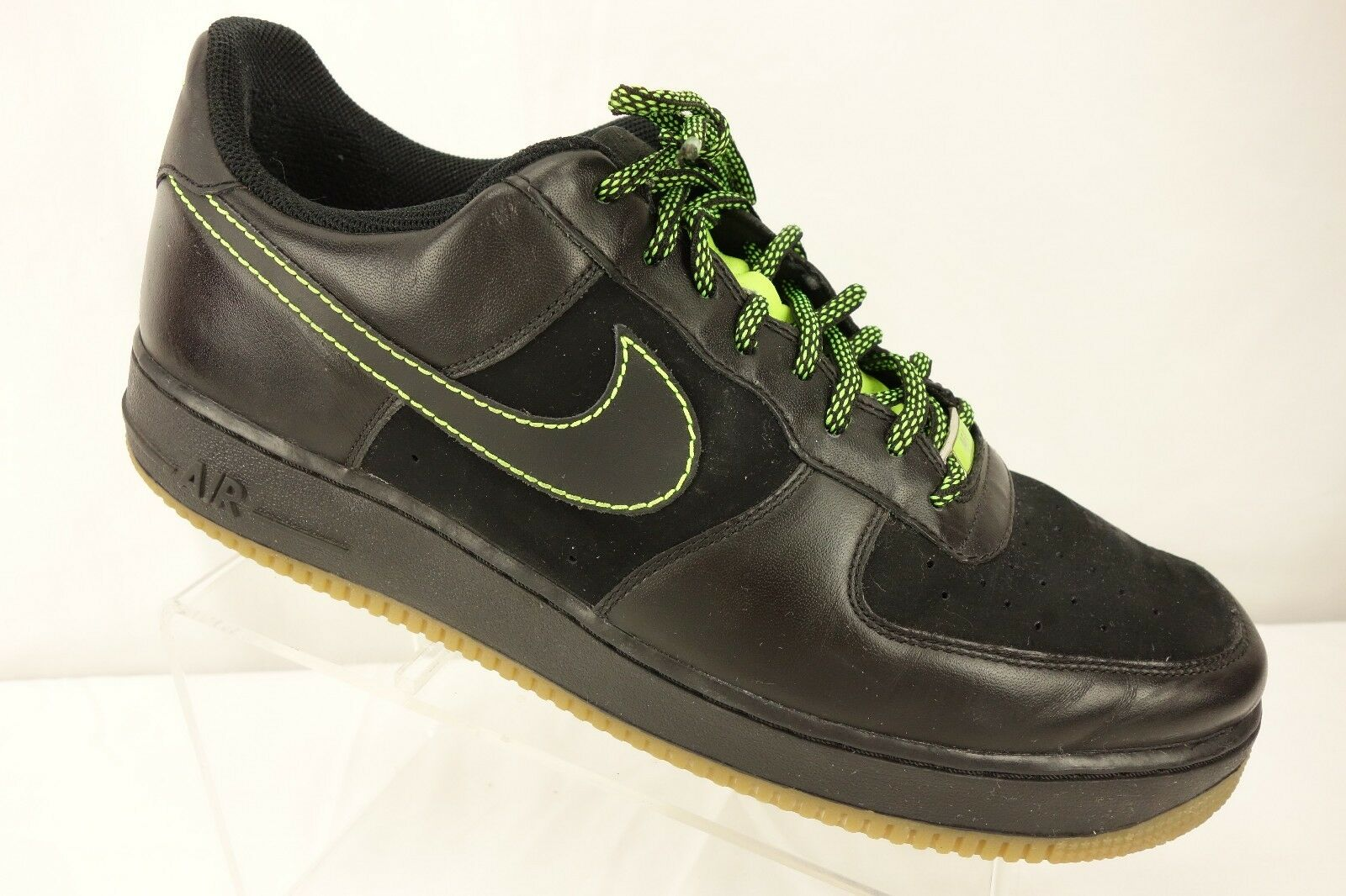 NIKE Air Force One '82 Sneakers Men's 13 M Black Leather Lime Green 315122-002